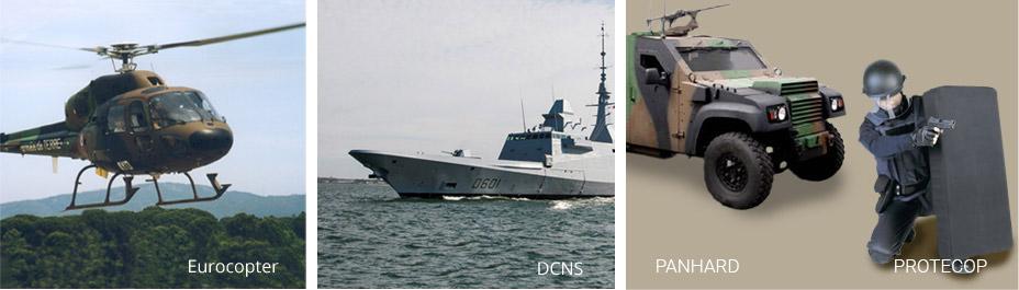 Gilets pare-balles, blindages métalliques pour protection des véhicules, aéronefs, et navires de guerre.